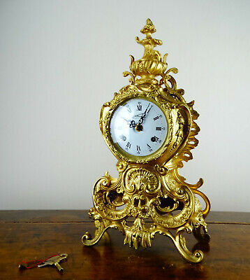 Antique Rococo Louis XV Style Brass Mantel Clock by Lancini Franz Hermle Chiming