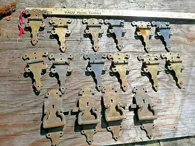 Victorian  Brass  Door Pulls offset Hinges  Hardware safe chest cupboard