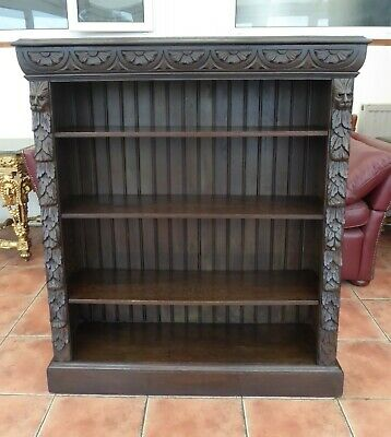 Country Oak  Bookcase Carved Lions Head 1860 Free Shipping To England