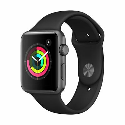 New Sealed Apple Watch S3 GPS 42mm Space Gray Aluminum Case Black Sport Band