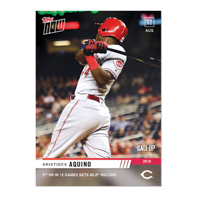 2019 Topps Now #675 Aristides Aquino (Call-Up) Reds 8 Hr In 12 Games Mlb Record