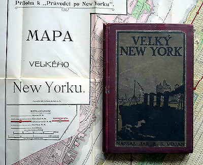 "1908 GREATER NEW YORK FOLDOUT MAP & Book 35"" x 23"" ANTIQUE Lusitania Ship Czech"