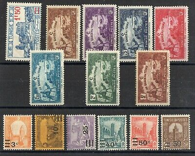 TUNISIE: SERIE COMPLETE DE 14 TIMBRES NEUF* N°146/160 Cote: 25,00 €
