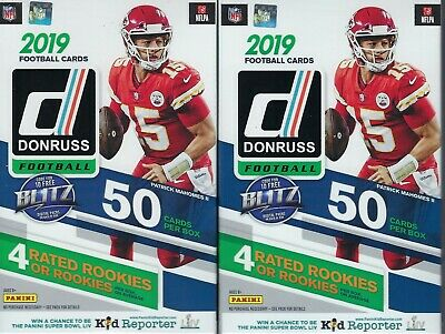 (2) 2019 Panini DONRUSS Football NFL Trading Cards 50c HANGER BOX LOT=100 Cards