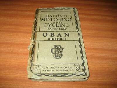 Vintage Bacon's Motoring And Cycling Road Map Oban And District