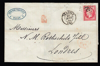 N°24 G 1769 Le Havre Seine Inferieure Londres Rothschild Lettre Cover France