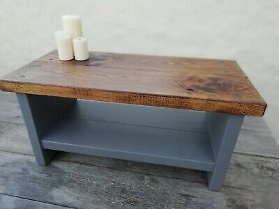 Rustic Shabby Chic Coffee Table, Tv Stand Handmade In Uk, Solid Wood,
