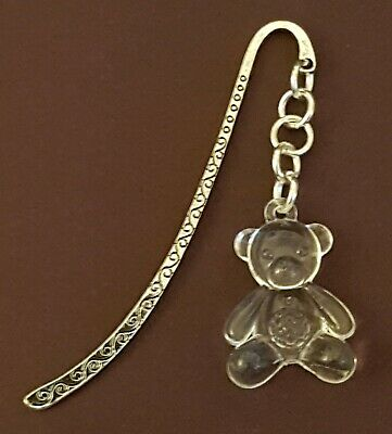 Silver Metal Bookmark With Clear Teddy Charm