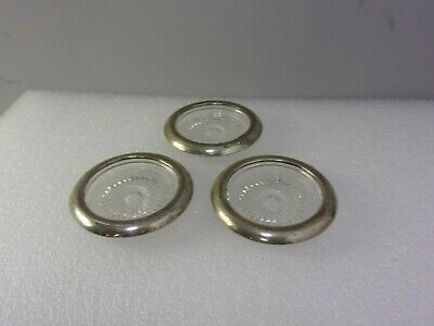Three Vintage Sterling Silver and Glass Coasters Marked STC
