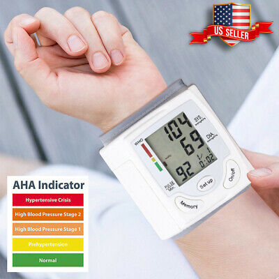 Automatic LCD Display Wrist Blood Pressure Monitor Heart Rate Meter Tonometer US