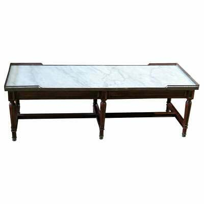 Fine Quality Brass Bound French Louis XVI Jansen Style Marble-Top Coffee Table
