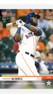 2019 TOPPS NOW ROOKIE CALL-UP CARD ASTROS YORDAN ALVAREZ #643 14th HR 42 GAMES