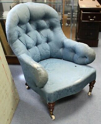 Antique pretty deep tub button back salon or bedroom chair for upholstery