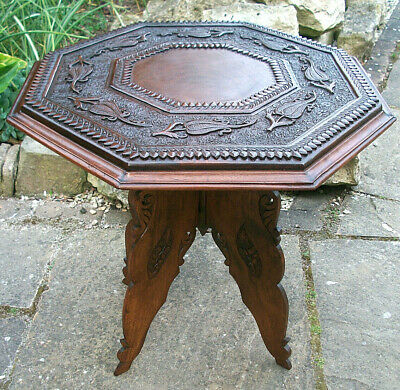 Large Antique Anglo/Indian Hand Carved, Folding Wooden Side Table