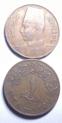 Egyptian Kingdom 1937 Rare Copper Coin King Farouk One Millime High Grade