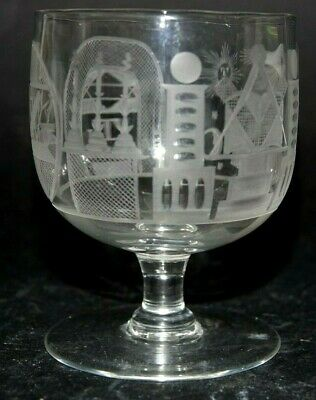 Very Finely Engraved Masonic Glass - Very Rare - L@@K