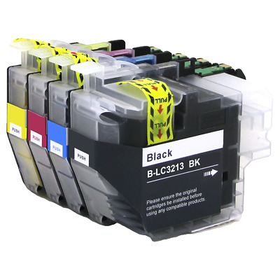 Pack 4 Brother Lc3213Bk Cartucho Compatible Con Brother Lc-3213Xl Lc-3211Xl