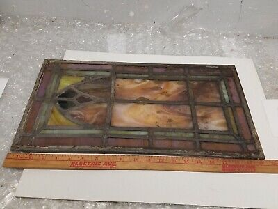 Vintage Stained Glass Window Gothic 20x11 Antique Art Metal Frame