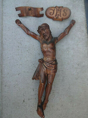 Ancient wooden carved Corpus of JESUS CHRIST with Inri & IHS sign, very nice