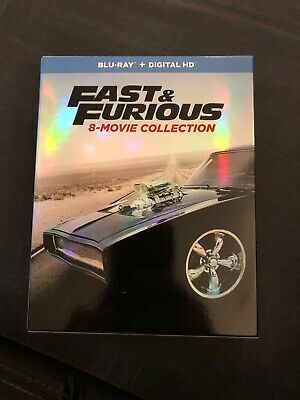Fast and Furious: 8-Movie Collection,  2017 Blu-Ray 9 Disc Set, no codes