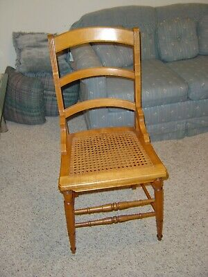 Vintage unique one-of-a-kind handmade maple chair caned seat 60's family estate