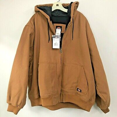 Dickies Mock-Layer Hooded Jacket Duck Brown Large Tall or XLarge Tall