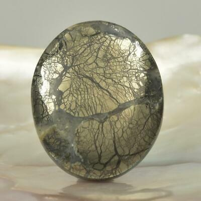 Natural Nipomo Pyrite Marcasite Agate Oval Cabochon Gemstone Bead USA 14.73 g
