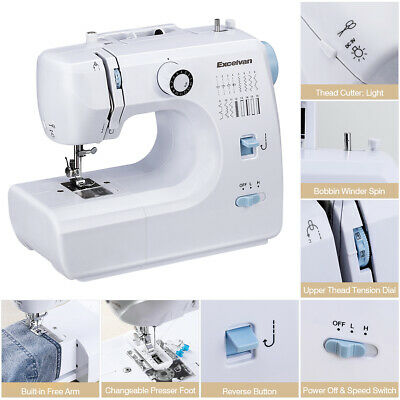 Excelvan Mini Portable Home Sewing Machine with Accessories, 16 Stitch Patterns