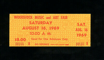 Ticket stub to the Woodstock Music and Arts Festival August 16, 1969- Unused