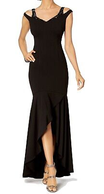 Adrianna Papell Women's Dress Black US Size 4 Embellished Crepe Gown $219 #261