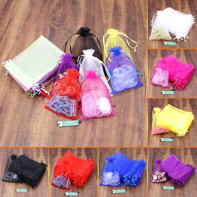 100 Organza Bags Wedding Gift Bag Jewellery Packing Pouch Bag 9x12 15x20 20x30cm