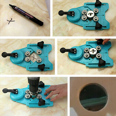 Drill Guide Vacuum Base Rubber Sucker Tile Glass Hole Saw Openings Locator J