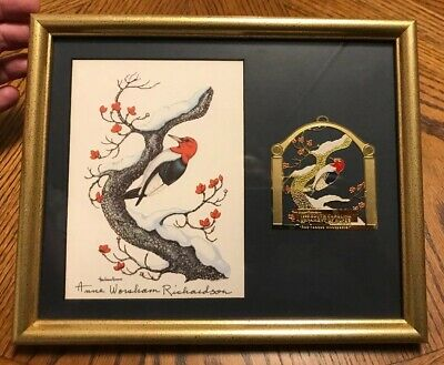 Anne Worsham Richardson Signed print 1998 Red Headed Woodpecker With COA