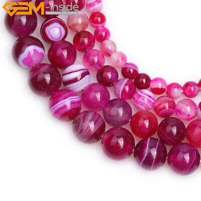 """Natural Gemstone Round Dark Pink Banded Agate Loose Beads For Jewelry Making 15"""""""