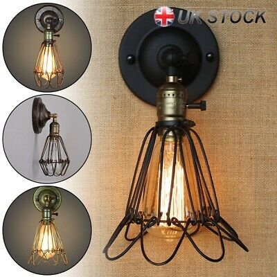 Retro Antique Industrial Iron Bird Cage Wall Light Up Down Bar Sconce Lamp UK