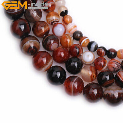 """Natural Gemstone Round Brown Banded Agate Loose Beads For Jewelry Making 15"""" DIY"""