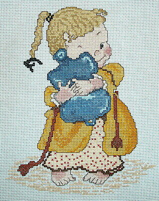 Counted Cross Stitch Unframed Picture Mabel Lucie Attwell Girl & Hot Waterbottle