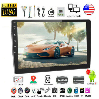 """10.1"""" Android 8.1 GPS Navigation Wifi Car Radio Stereo Touch Screen 2.5D Glass"""