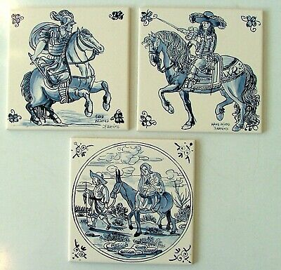 3 handpainted blue white tiles Portugese