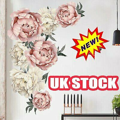 Fresh Peony Flower Wall Sticker Living Room Mural Decal Home Art Decor Gift RW