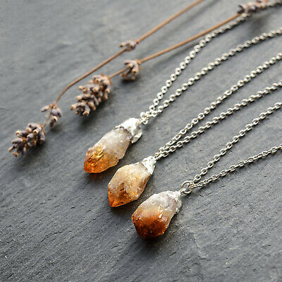 Golden Citrine Quartz Crystal Druzy Silver Necklace-Boho Bohemian Raw Gem Stone