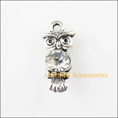 6 New Animal Owl Charms Tibetan Silver Tone Clear Crystal Pendants 10.5x22mm