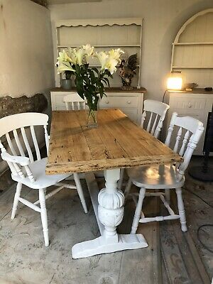 Antique Carved 5 Foot Oak Refectory Farmhouse Kitchen Dining Table And  Chairs