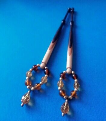 Pair Wood Spliced Lace Bobbins, 3 Colours. Amber Colour Spangles.