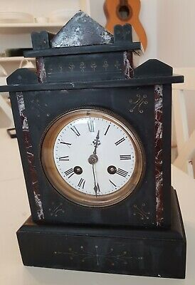 French 1889 Black Slate and Marble Mantle Clock Spares and Repairs.