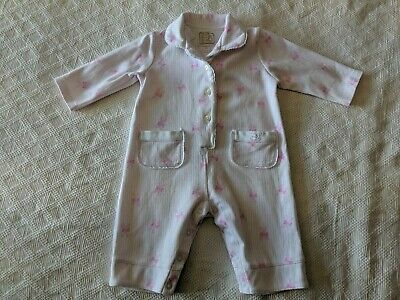 Emile et Rose Girls Bunny Ribbon All-In-One Pyjamas Excellent 6 Months