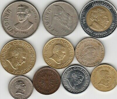 10 different world coins from URUGUAY