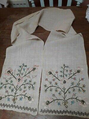Antique Turkish Ottoman Towel Hand Embroidery Linen Metallic 74X9""