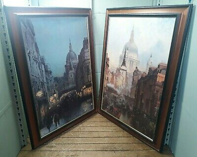 Pair of vintage fine art prints St. Pauls by Grimshaw; Ludgate by O'Connor. AC39
