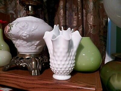 Vintage Fenton Art Glass white HOBNAIL Milk Glass Handkerchief Vase 7 1/2 Inches